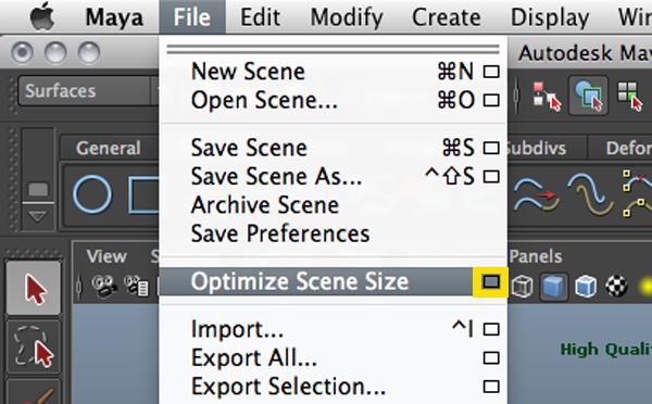 Optimizing a scene in Maya 3D 2012 | Optimize Scene Size | Delete