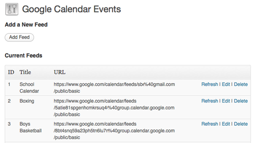 Add Google Calendar Feed