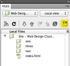 dreamweaver files expand button