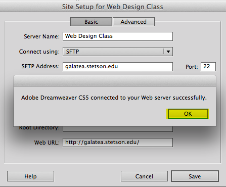 dreamweaver test ftp/sftp connection