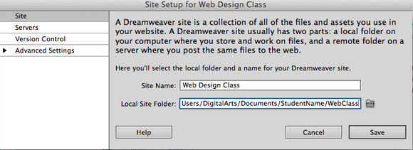 orlando dreamweaver local root folder