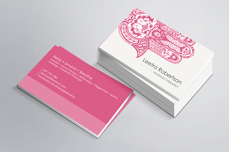 Orlando Graphic Design Massage Therapist Business Card