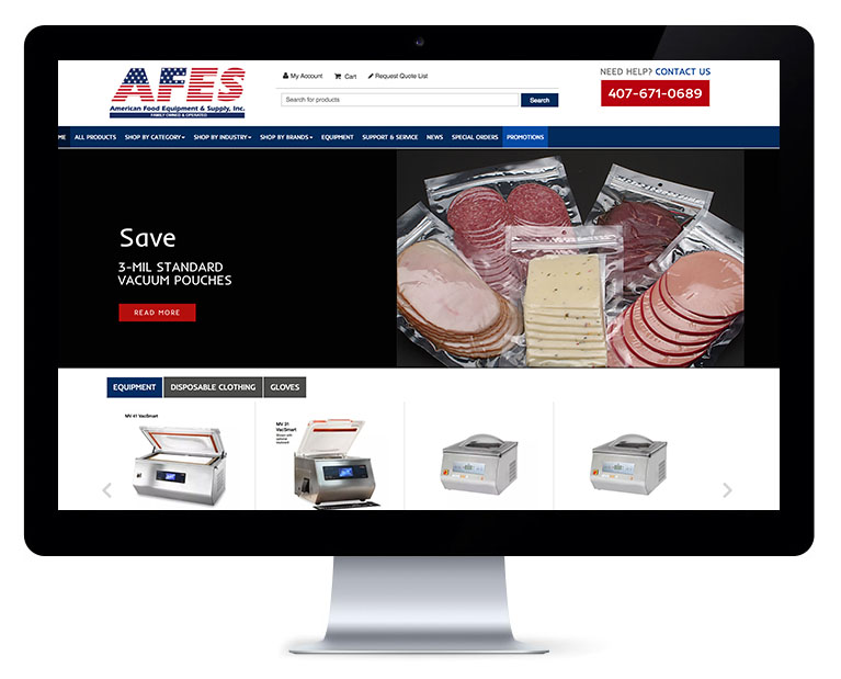 Orlando web design food equipment and supply