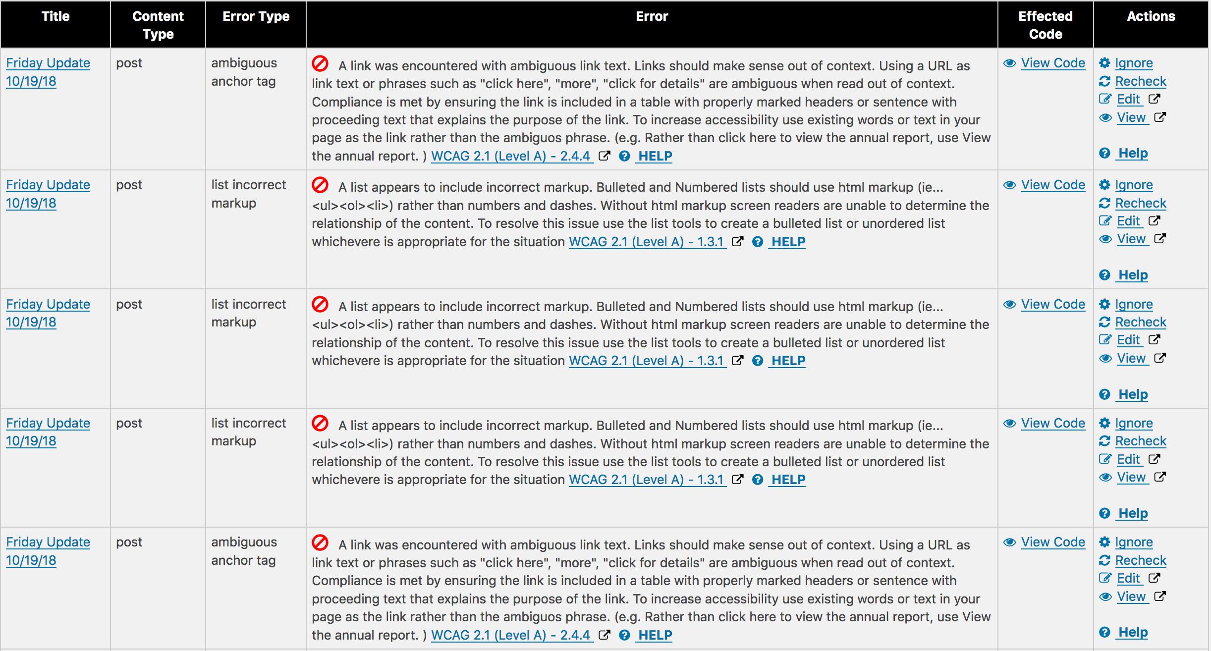 ADA Compliance plugin report image