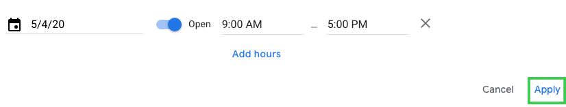 add special hours google my business
