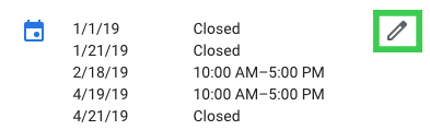 edit business hours in google