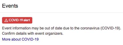 google events alert covid 19