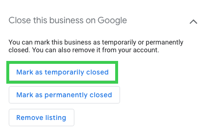 mark as temporarily closed in google